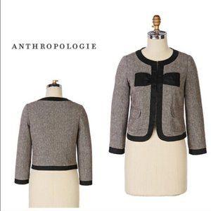 Anthropologie Bow & Arrow  Brown Tweed Bow Jacket